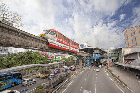 monorail: KUALA LUMPUR, MALAYSIA - FEBRUARY 7, 2014: Kuala Lumpur Monorail Transportation System in Downtown KL Malaysia. The monorail is one of the several train systems in Kuala Lumpur.