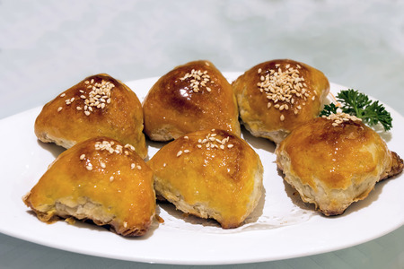 sou: Char Siu Sou Barbecue Pork Pastry Dim Sum Dish Closeup Stock Photo