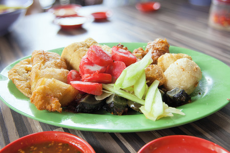 ngo: Ngo Hiang Five Spice Powder Seasoned Fried Sausages Tofu Fishballs Preserved Century Eggs Local Dish Stock Photo