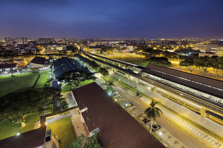 interchange: Eunos Housing District in Singapore During Early Morning Dawn Blue Hour