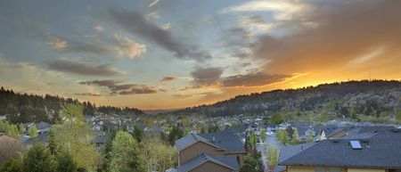 Sunset Over Happy Valley Oregon Suburb Neighborhood Homes Nestled in the Valley and the Hills Panorama