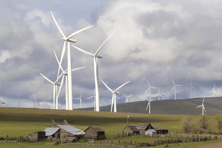 washington landscape: Wind Turbines in  Wind Farm Towering Over Cattle Ranch Buildings on Rollings Hills Along Columbia River in Washington State