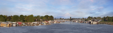 Boat Houses and Marina at Hayden Island Along Columbia River with Mt Hood Panorama photo
