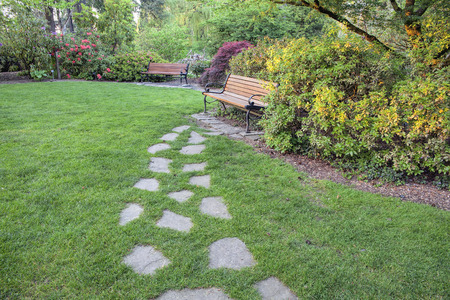 hardscape: Natural Stone Steps on Green Grass Lawn to Park Bench
