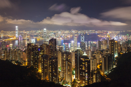 Hong Kong Island Central Cityscape with Victoria Harbour at Night from Victoria Peak photo