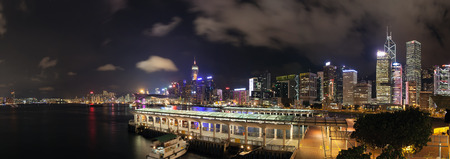 buidings: Hong Kong Central Ferry Pier with City Skyline at Night Panorama