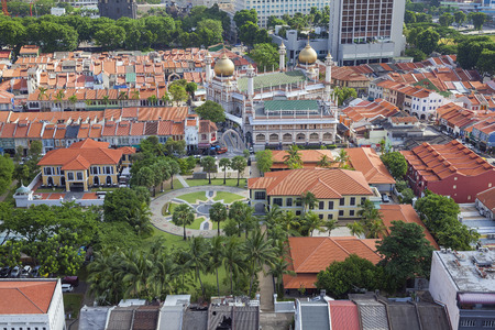 Kampong Glam with Malay Heritage Center and Sultan Mosque Aerial View
