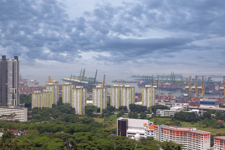SINGAPORE - JUNE 15, 2014  Port of Singapore Authority PSA Shipyard Aerial View  Singapore is the second busiest port in the world in terms of tonnage