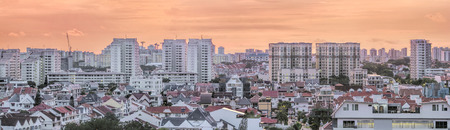 Kembangan Private and Public Residential Area in Singapore at Early Morning Dawn Panorama photo