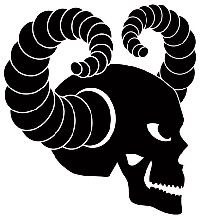 Skull with Horns Side View Black and White Illustration Isolated on White Background Vector
