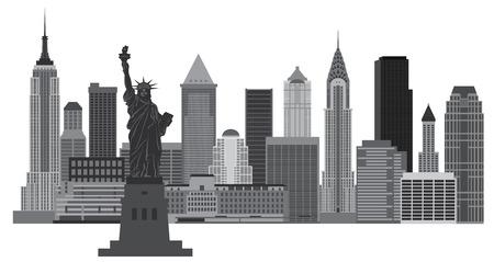 黒と白の図は自由の女神とニューヨーク市のスカイライン  イラスト・ベクター素材
