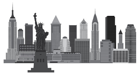 New York City Skyline with Statue of Liberty Black and White Illustration Vettoriali