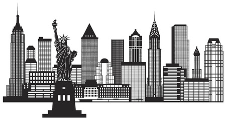 waterfront: New York City Skyline with Statue of Liberty Black and White Outline Illustration Illustration