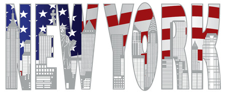 New York City Skyline with Statue of Liberty and American Flag Text Outline Illustration Vettoriali