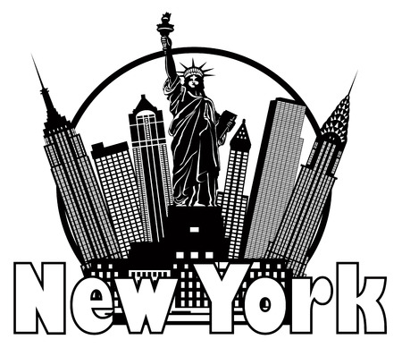 manhattan skyline: New York City Skyline with Statue of Liberty Black and White Circle Outline with Text Illustration