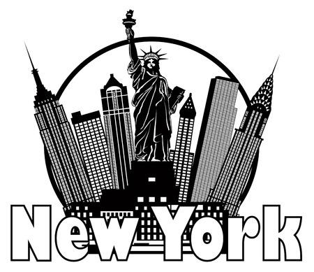 Nueva York Horizonte de la ciudad con la estatua de la Libertad Blanco y Negro Círculo Contorno con la ilustración del texto Vectores