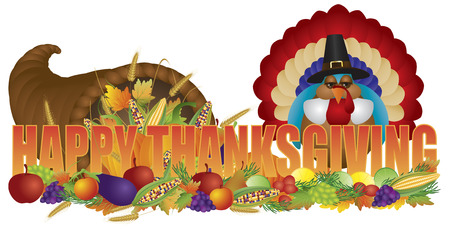 tradition: Happy Thanksgiving Text Cornucopia with Bountiful Fall Harvest and Pilgrim Turkey Isolated on White Background Illustration
