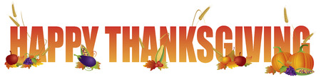 Happy Thanksgiving Color Text with Fruits Vegetable Pumpkin Wheat Grain Fall Leaves Illustration 일러스트