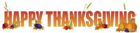thanksgiving day symbol: Felice Colore testo di ringraziamento con frutta verdura zucca Wheat Grain Fall Leaves Illustrazione