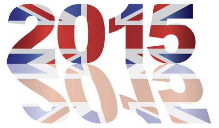2015 Great Britain Union Jack Flag Numbers Outline Isolated on White Background Illustration Иллюстрация