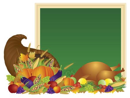 추수 감사절 날 칠판 기호 그림 터키 디너 축제 호박 과일과 채소를 수확 풍부 가을