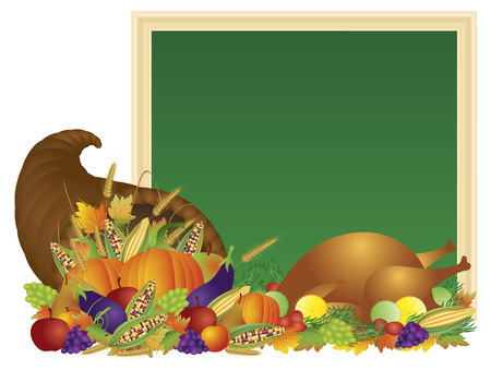 fall harvest: Thanksgiving Day Fall Harvest Cornucopia with Turkey Dinner Feast Pumpkins Fruits and Vegetables with Chalkboard Sign illustration