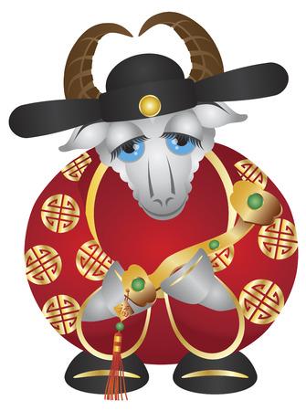 scettro: 2015 Felice cinese nuovo anno lunare della Capra Prosperit� Denaro Dio Tenere Ruyi Scepter con Prosperit� testo illustrazione isolato su sfondo bianco Vettoriali