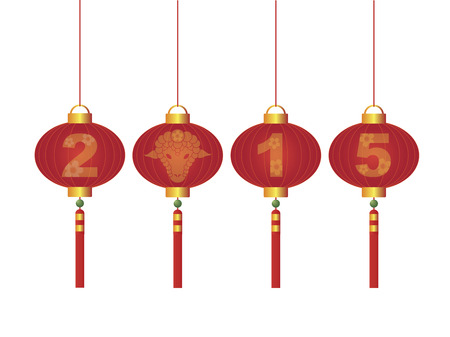 2015 Happy Chinese Lunar New Year of the Goat Symbol  Vector