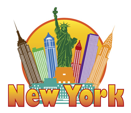 New York City Colorful Skyline with Statue of Liberty in Circle Outline with Text Illustration