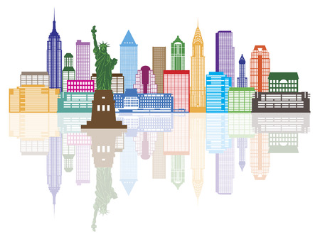 city building: New York City Skyline with Statue of Liberty Color with Reflection Illustration