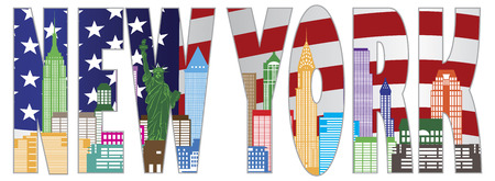 New York City Skyline with Statue of Liberty and American Flag Text Outline in Color Illustration Vector