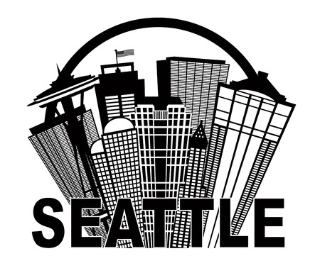 pacific northwest: Seattle Washington Abstract Downtown City Skyline in Circle Black Isolated on White Background Illustration Illustration