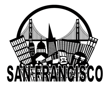San Francisco California Abstract Black and White