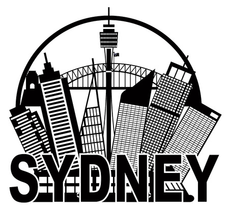 sydney: Sydney Australia Skyline Landmarks Harbour Bridge Black in Circle Isolated on White Background Illustration Illustration