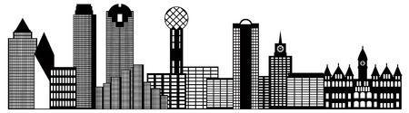 tx: Dallas Texas City Skyline Outline Black and White Silhouette Illustration