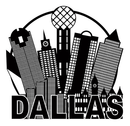 tx: Dallas Texas City Skyline Outline in Circle Black and White Silhouette Illustration