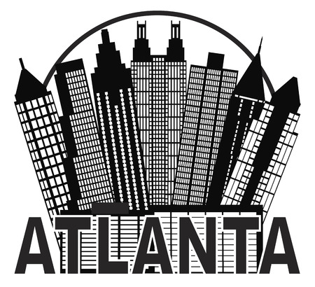 Atlanta Georgia City Skyline in Circle with Text Silhouette Black and White Illustration