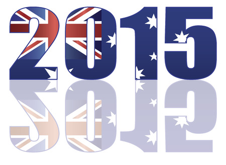 australia day: Happy New Year 2015 Numerals SIlhouette Outline with Australia Flag Illustration Illustration