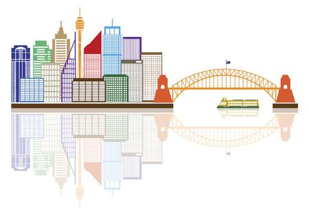 Sydney Australia Skyline Landmarks Harbour Bridge Color with Reflection Isolated on White Background Illustration