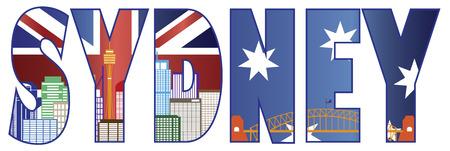 Sydney Australia Text Outline with Skyline Tower Bridge and Flag Color Illustration  イラスト・ベクター素材