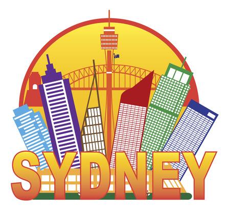 Sydney Australia Skyline Landmarks Harbour Bridge Color in Circle Isolated on White Background Illustration