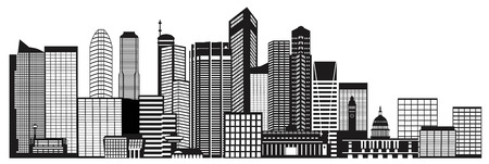 Singapore City Skyline Silhouette Outline Panorama Black Isolated on White Background Illustration