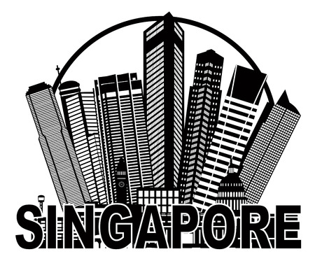 singapore cityscape: Singapore City Skyline Silhouette Outline in Circle Black Isolated on White Background Illustration Illustration