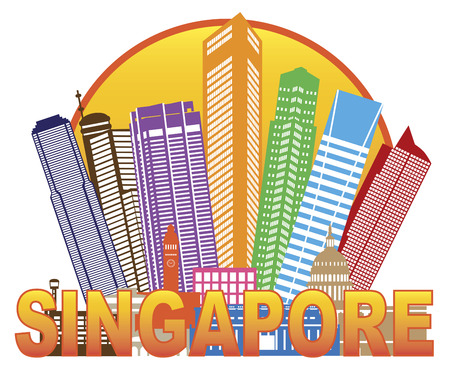 singapore cityscape: Singapore City Skyline Silhouette Outline in Circle Color Isolated on White Background Illustration