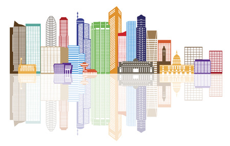 흰색 배경 일러스트 레이 션에 고립 반사와 싱가포르 도시의 스카이 라인 실루엣 개요 파노라마 색상
