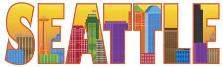 Seattle Washington City Skyline Text Outline Silhouette Color Isolated on White Background Illustration