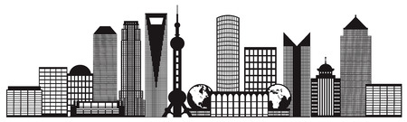 shanghai skyline: Shanghai China City Skyline Outline Silhouette Black Isolated on White Background Illustration