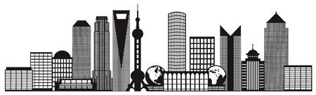 shanghai skyline: Shanghai China City Skyline Outline Silhouette Black Isolated on White Background Illustration