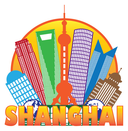 shanghai: Shanghai China City Skyline Outline Silhouette in Circle Color Isolated on White Background Illustration