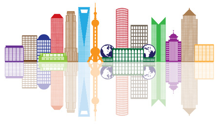 Shanghai China City Skyline Outline Silhouette Color with Reflection Isolated on White Background Illustration Ilustração